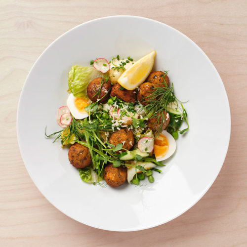 Cod & salmon balls with warm new potato salad, butter vinaigrette and egg.